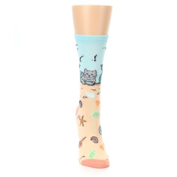 Image of Tan Blue Beach Cat Mermaid Women's Dress Socks (front-04)