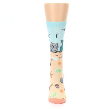 Image of Tan Blue Beach Cat Mermaid Women's Dress Socks (front-05)