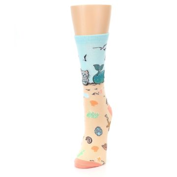 Image of Tan Blue Beach Cat Mermaid Women's Dress Socks (side-2-front-07)