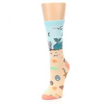 Image of Tan Blue Beach Cat Mermaid Women's Dress Socks (side-2-front-08)