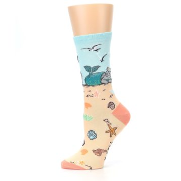 Image of Tan Blue Beach Cat Mermaid Women's Dress Socks (side-2-11)