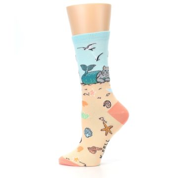 Image of Tan Blue Beach Cat Mermaid Women's Dress Socks (side-2-12)