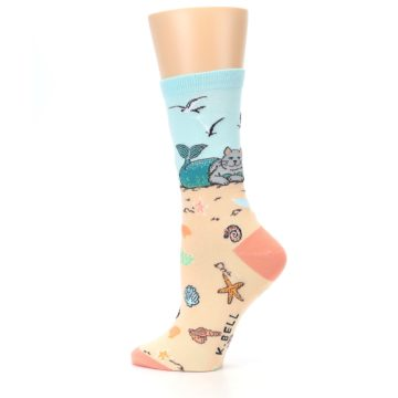 Image of Tan Blue Beach Cat Mermaid Women's Dress Socks (side-2-13)