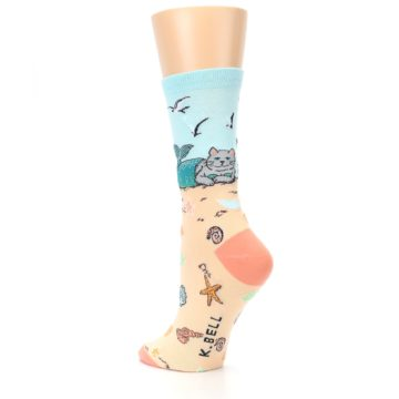 Image of Tan Blue Beach Cat Mermaid Women's Dress Socks (side-2-back-15)