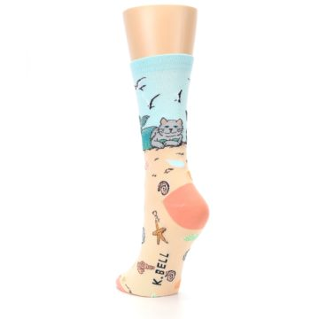 Image of Tan Blue Beach Cat Mermaid Women's Dress Socks (side-2-back-16)