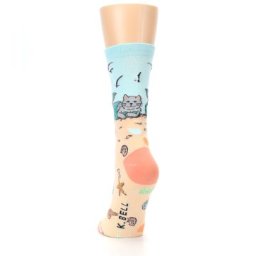 Image of Tan Blue Beach Cat Mermaid Women's Dress Socks (back-17)