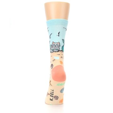 Image of Tan Blue Beach Cat Mermaid Women's Dress Socks (back-18)