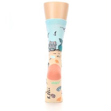 Image of Tan Blue Beach Cat Mermaid Women's Dress Socks (back-19)