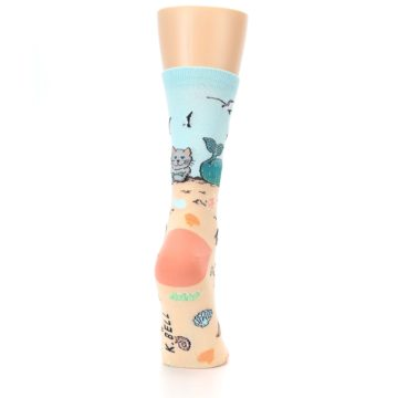 Image of Tan Blue Beach Cat Mermaid Women's Dress Socks (side-1-back-20)