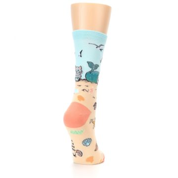 Image of Tan Blue Beach Cat Mermaid Women's Dress Socks (side-1-back-21)