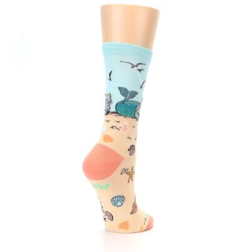 Image of Tan Blue Beach Cat Mermaid Women's Dress Socks (side-1-back-22)