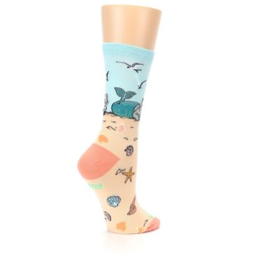 Image of Tan Blue Beach Cat Mermaid Women's Dress Socks (side-1-23)