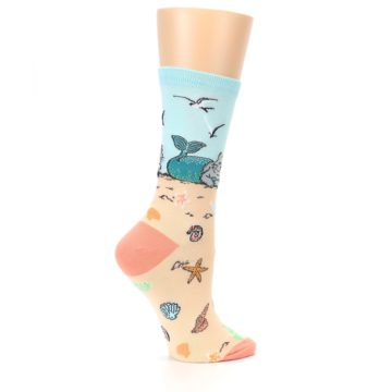 Image of Tan Blue Beach Cat Mermaid Women's Dress Socks (side-1-24)