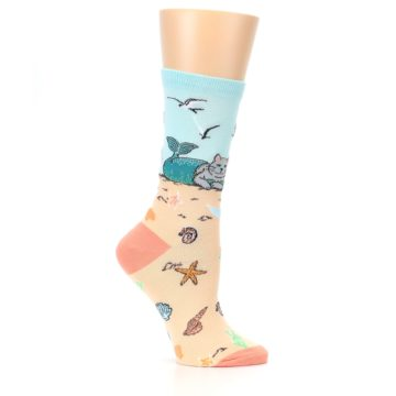 Image of Tan Blue Beach Cat Mermaid Women's Dress Socks (side-1-25)