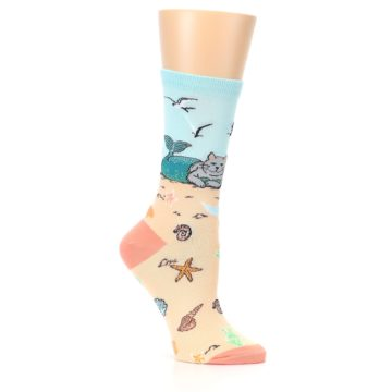 Image of Tan Blue Beach Cat Mermaid Women's Dress Socks (side-1-26)