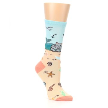 Image of Tan Blue Beach Cat Mermaid Women's Dress Socks (side-1-27)