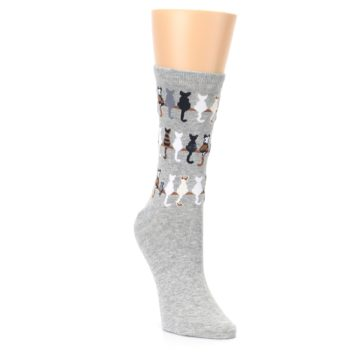 Image of Gray Cat Tails Women's Dress Socks (side-1-front-02)