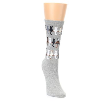 Image of Gray Cat Tails Women's Dress Socks (side-1-front-03)