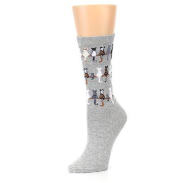 Image of Gray Cat Tails Women's Dress Socks (side-2-09)