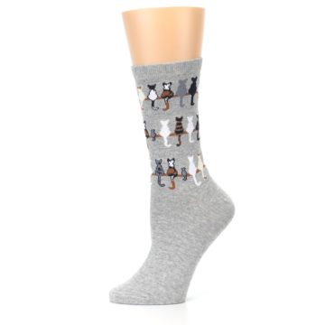 Image of Gray Cat Tails Women's Dress Socks (side-2-11)