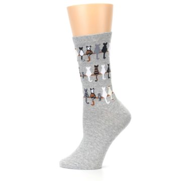Image of Gray Cat Tails Women's Dress Socks (side-2-12)