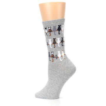 Image of Gray Cat Tails Women's Dress Socks (side-2-13)