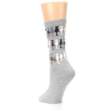 Image of Gray Cat Tails Women's Dress Socks (side-2-back-15)