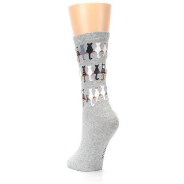 Image of Gray Cat Tails Women's Dress Socks (side-2-back-16)
