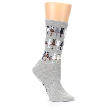 Image of Gray Cat Tails Women's Dress Socks (side-1-25)