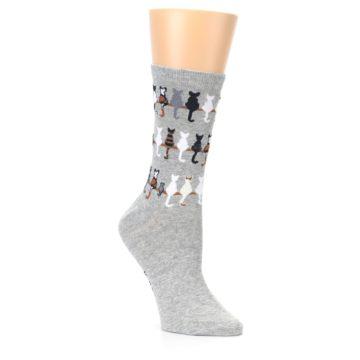 Image of Gray Cat Tails Women's Dress Socks (side-1-27)