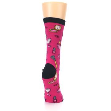 Image of Pink Makeup Perfume Lipstick Women's Dress Socks (side-1-back-20)