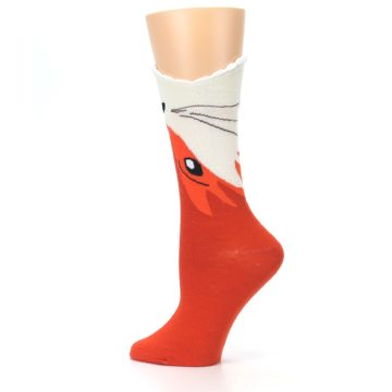 Image of Orange Wide Mouth Fox Women's Dress Socks (side-2-13)