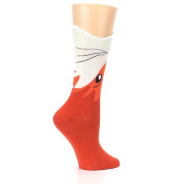 Image of Orange Wide Mouth Fox Women's Dress Socks (side-1-24)