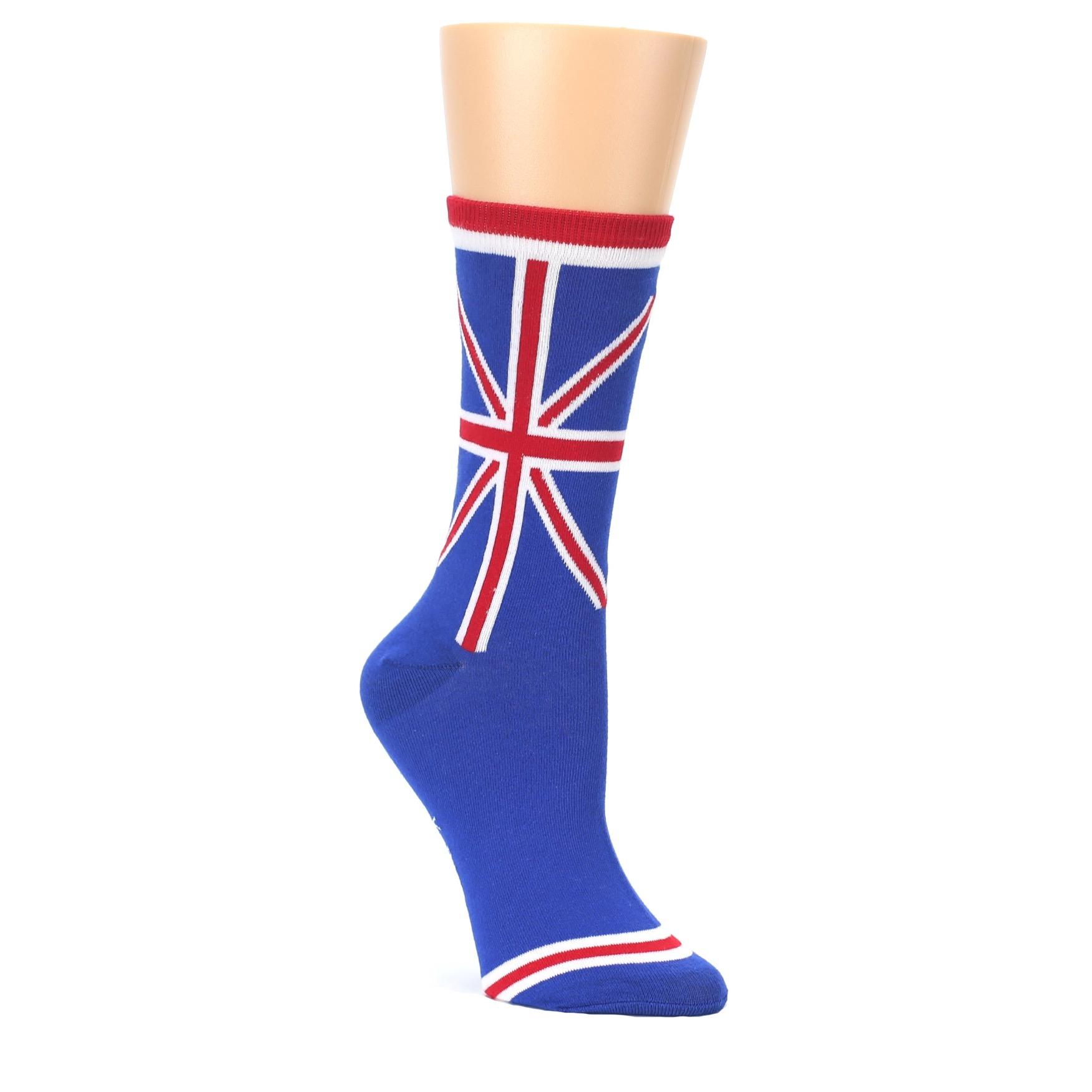 Blue Red British Flag Women's Dress Socks | boldSOCKS