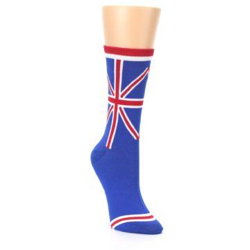 Image of Blue Red British Flag Women's Dress Socks (side-1-front-02)