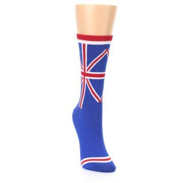Image of Blue Red British Flag Women's Dress Socks (side-1-front-03)