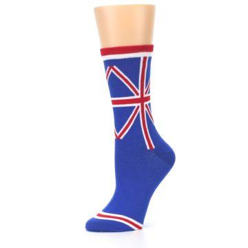 Image of Blue Red British Flag Women's Dress Socks (side-2-10)