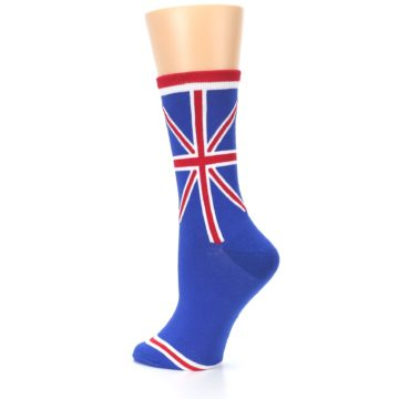 Image of Blue Red British Flag Women's Dress Socks (side-2-back-14)