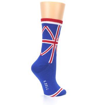 Image of Blue Red British Flag Women's Dress Socks (side-1-23)