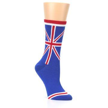 Image of Blue Red British Flag Women's Dress Socks (side-1-27)