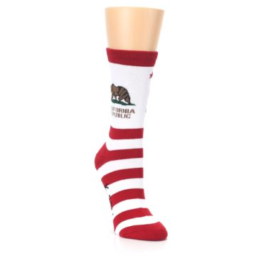 Image of Red White California Flag US Made Women's Dress Socks (side-1-front-02)