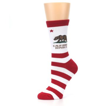 Image of Red White California Flag US Made Women's Dress Socks (side-2-10)