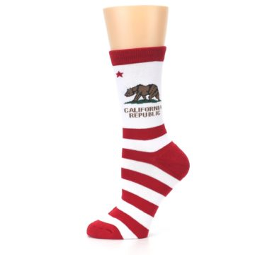 Image of Red White California Flag US Made Women's Dress Socks (side-2-11)