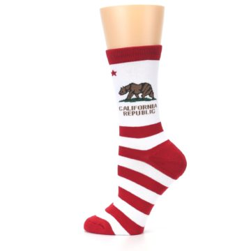 Image of Red White California Flag US Made Women's Dress Socks (side-2-12)