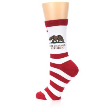 Image of Red White California Flag US Made Women's Dress Socks (side-2-13)