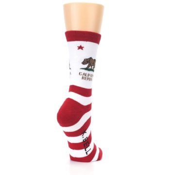 Image of Red White California Flag US Made Women's Dress Socks (side-1-back-21)