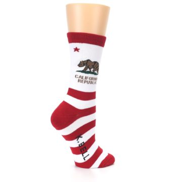 Image of Red White California Flag US Made Women's Dress Socks (side-1-23)