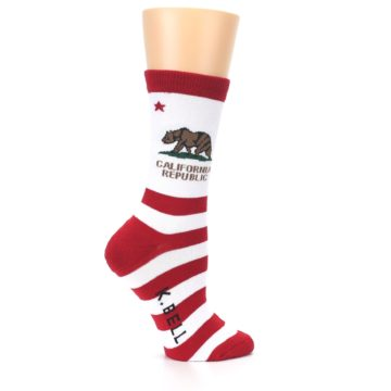 Image of Red White California Flag US Made Women's Dress Socks (side-1-24)