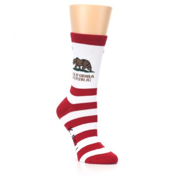 Image of Red White California Flag US Made Women's Dress Socks (side-1-27)