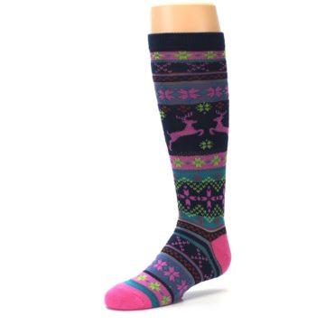 Image of Navy Pink Nordic Kid's Knee High Socks (side-2-09)